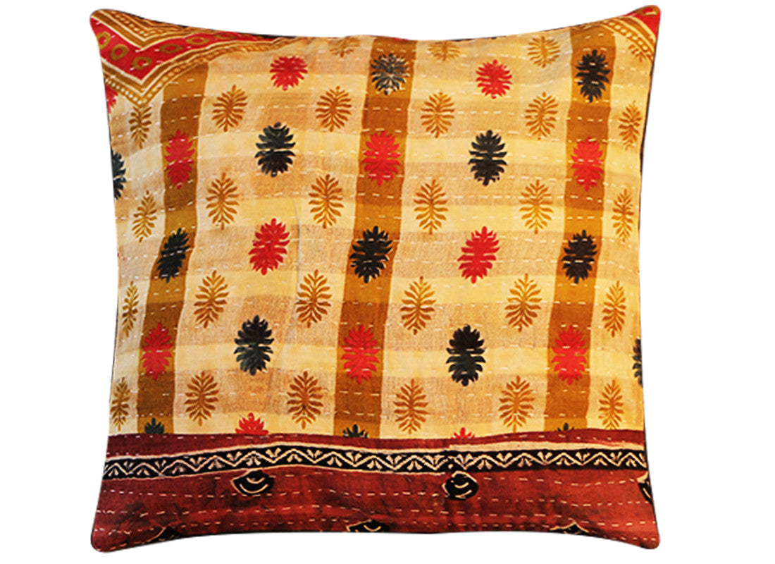 Ethnic Multicolor Kantha Cotton Cushion Cover