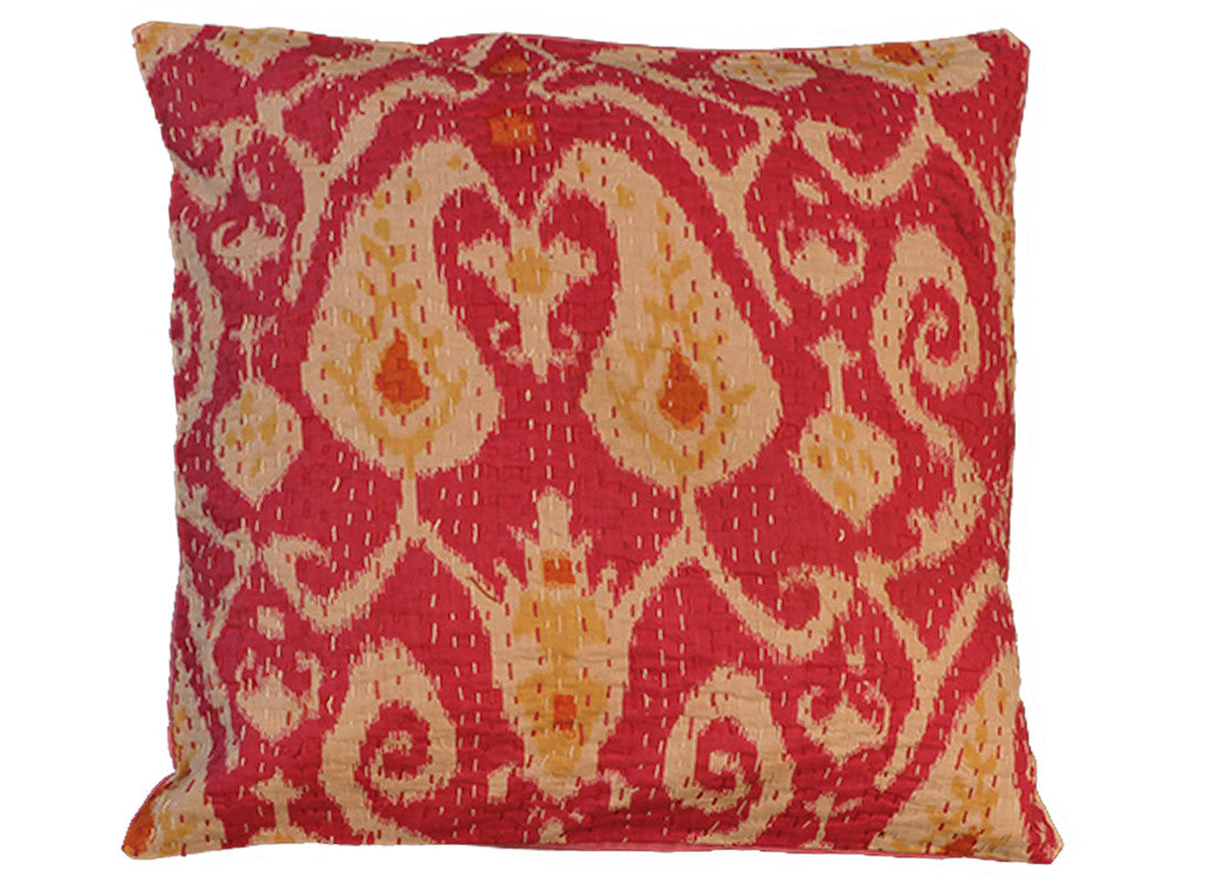pink kantha cushion covers