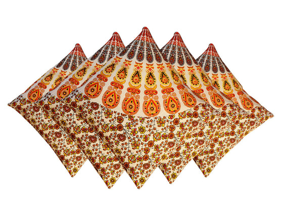 print orange Rajasthani cushion covers