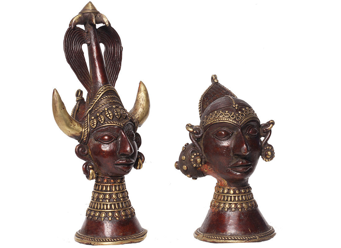 Metal Tribal Face Mural Showpiece Set of 2