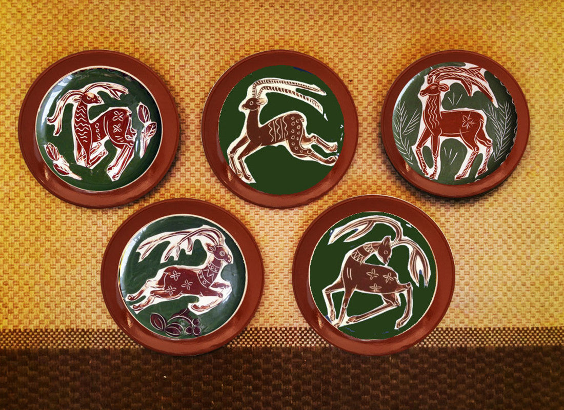 hand-painted Portuguese wall plate set