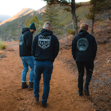 Load image into Gallery viewer, People hiking with Summit Outdoor hoodies on