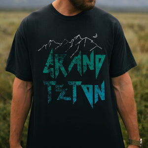 Closeup of the Grand Teton National Park shirt on a male model