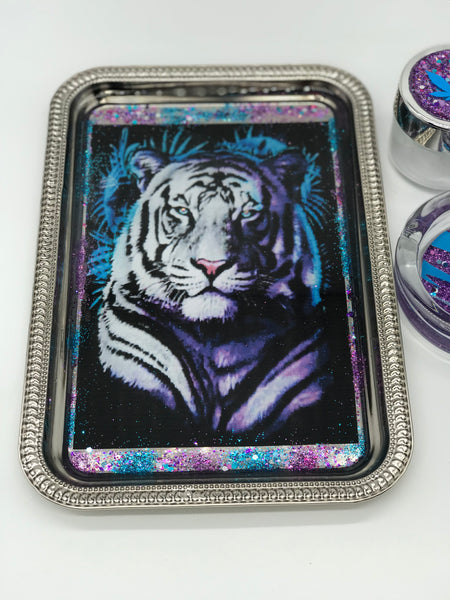 Ombré Tiger Rolling Tray Set