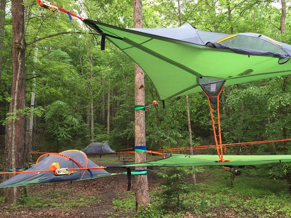 tentsile tree tents in forest, stacked high in the air.