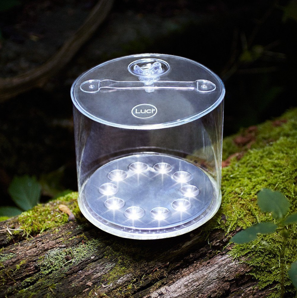 Inflatable solar powered camping light, waterproof outdoor luci