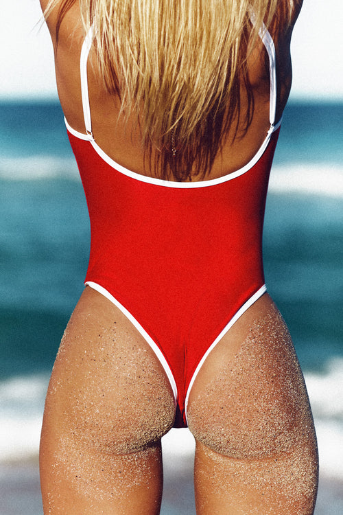 CONTRAST HIGH CUT ONE PIECE - RED & WHITE