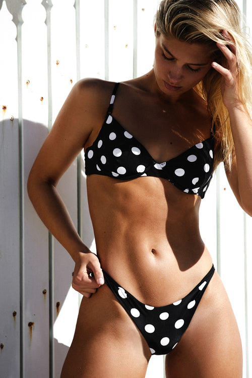 UNDERWIRE TOP - BLACK POLKA DOT
