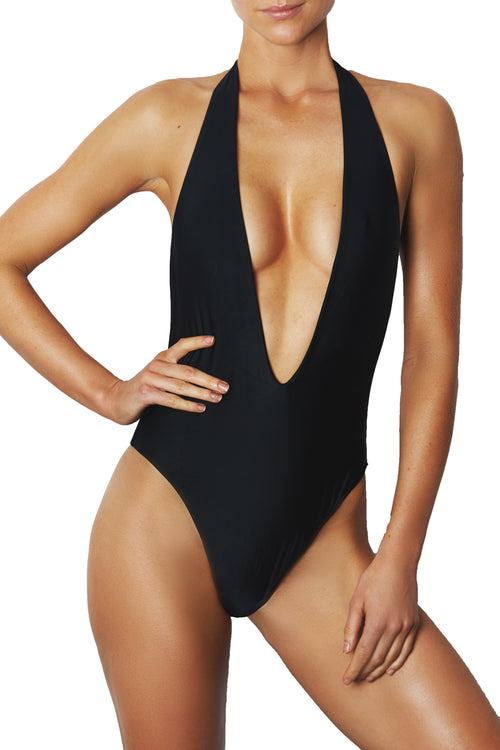 LOW FRONT ONE PIECE - BLACK