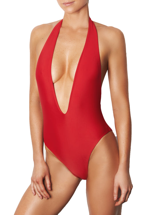 LOW FRONT ONE PIECE - RED