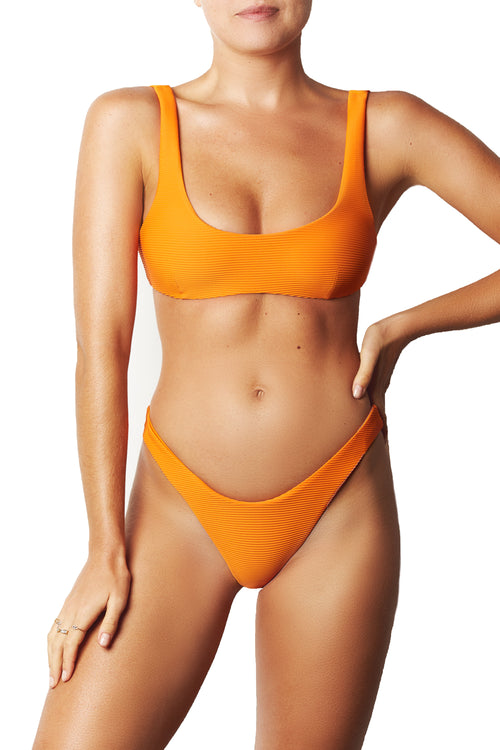 LOW BACK CROP TOP - NEON TANGERINE RIB