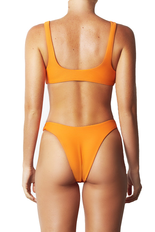 HIGH CUT PANT - NEON TANGERINE RIB