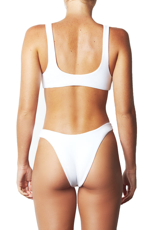 LOW BACK CROP TOP - WHITE RIB
