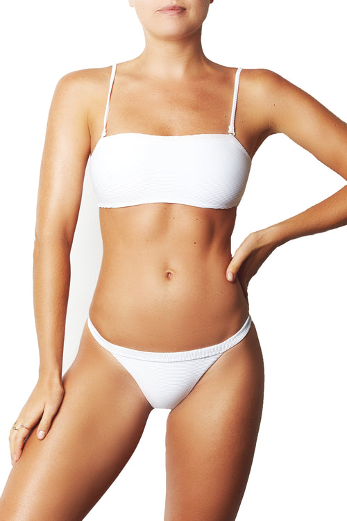 BASIC BANDEAU TOP - WHITE RIB