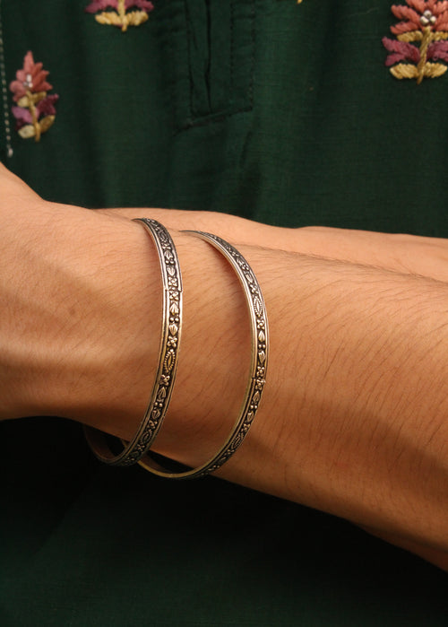 Silver Bangles - Set of 2, Size 2.4