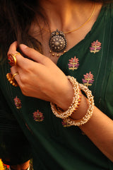 Gold Plated Pearl Bangles - Size 2.5