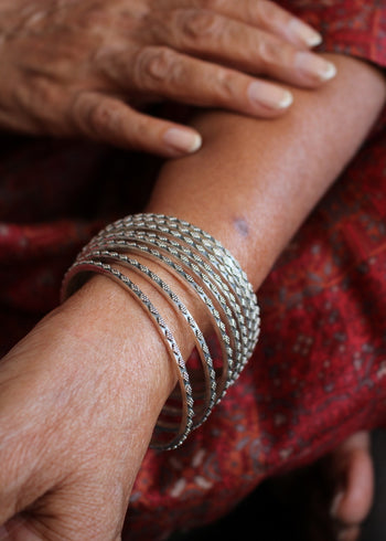 Silver Rava Bangles - Set of 2, Size 2.4