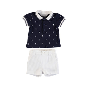 Mayoral Summer Baby Boys Navy Polo Shirt & Shorts Set - Scarlett's Bowtique