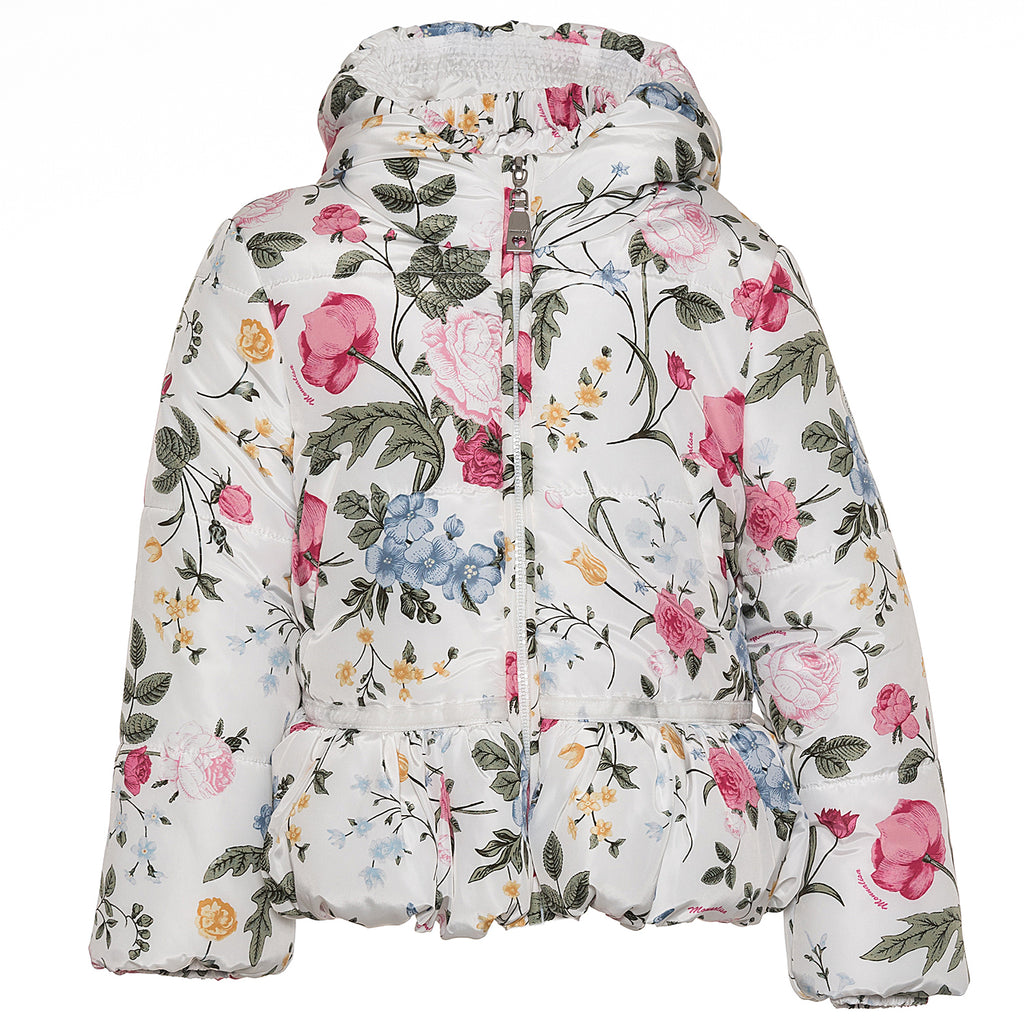 Monnalisa Bimba Cream Flower Coat - Scarlett's Bowtique