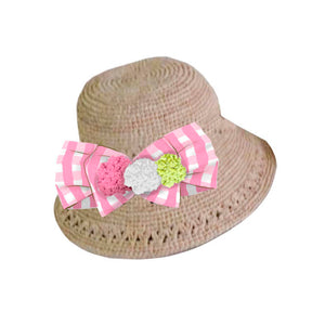 Pink Gingham Straw Hat