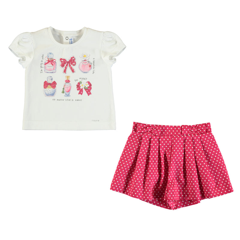 Mayoral Summer Toddler Perfume T-Shirt & Polka Dot Short Set - Scarlett's Bowtique