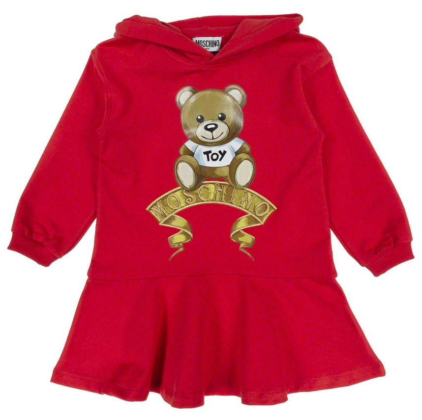 Red Toy Teddy Hooded Sweater Dress