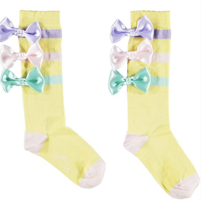 Ariana Dee Ice Cream Lemon Ribbon Bow Knee High Socks