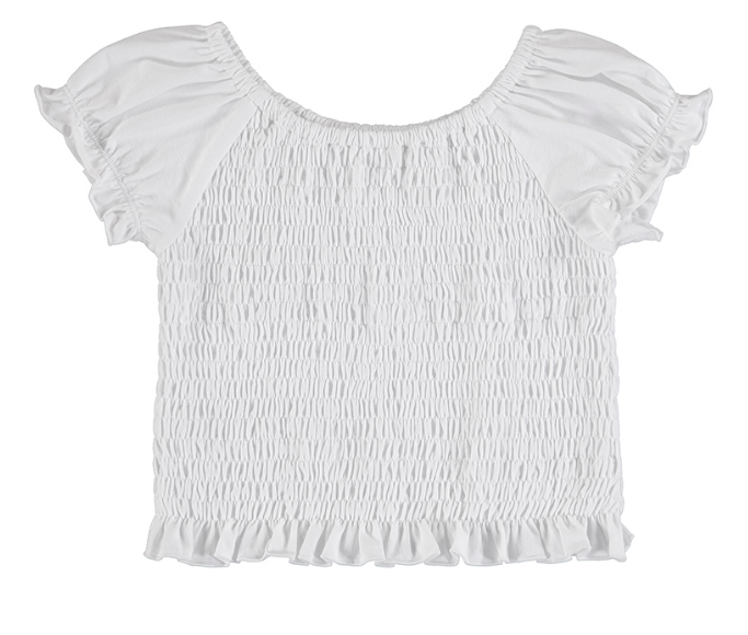 Mayoral Junior White Smock Stretch Top