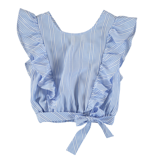 Mayoral Junior Stripes Bow Loose Shirt Top
