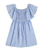 Mayoral Junior Blue & White Stripe Smock Dress