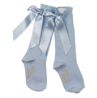 Pretty Originals Baby Blue Bow Socks - Scarlett's Bowtique