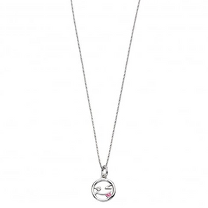 D For Diamond Wink Face Emoji Necklace - Scarlett's Bowtique