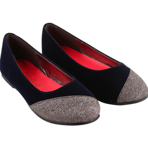 Billieblush Girls Black Glitter Ballerina Pumps - Scarlett's Bowtique