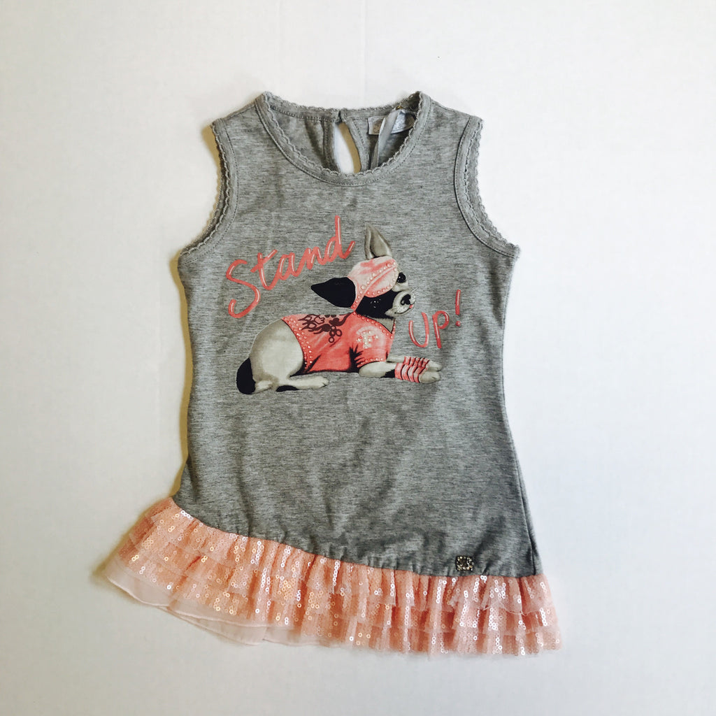 Fun & Fun Baby Girls Summer Grey Dog Dress - Scarlett's Bowtique