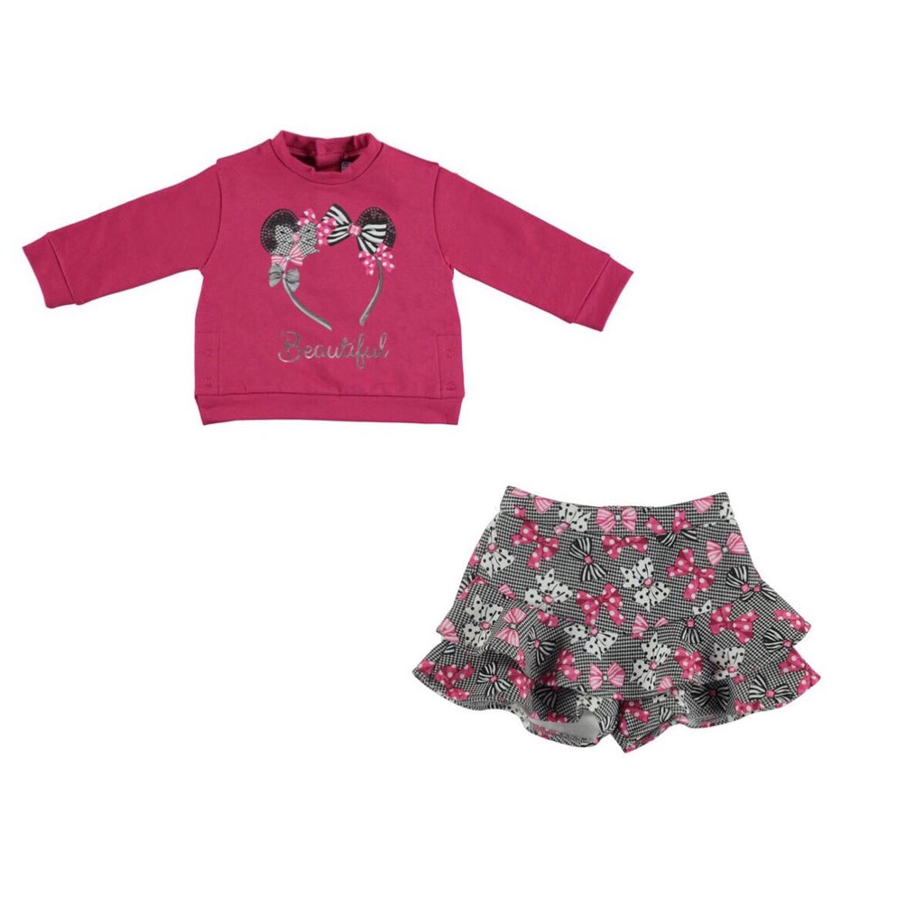 Mayoral Winter Toddler 'Beautiful' Bow Sweater & Short Set - Scarlett's Bowtique