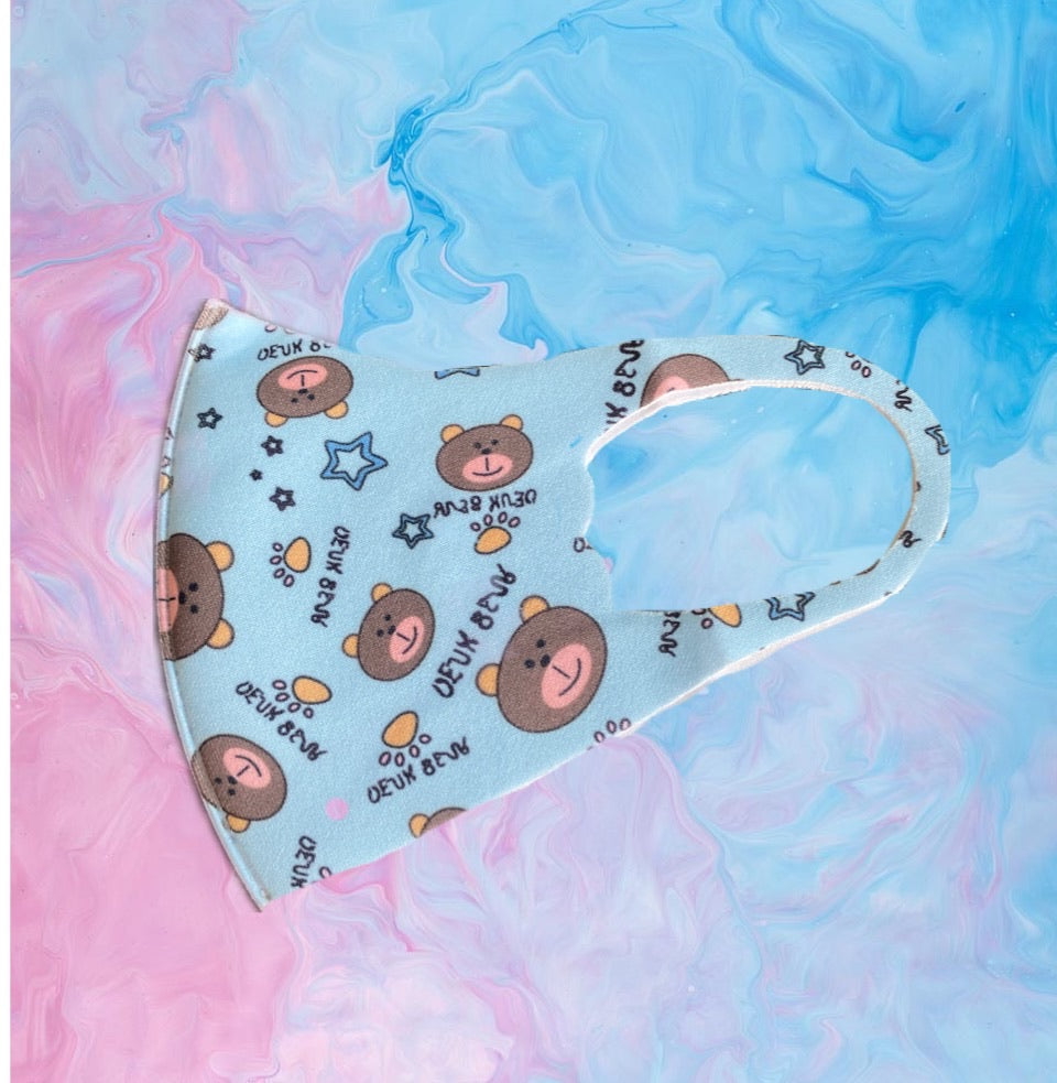 Child Teddy, Animals & Clouds Face Mask Covering