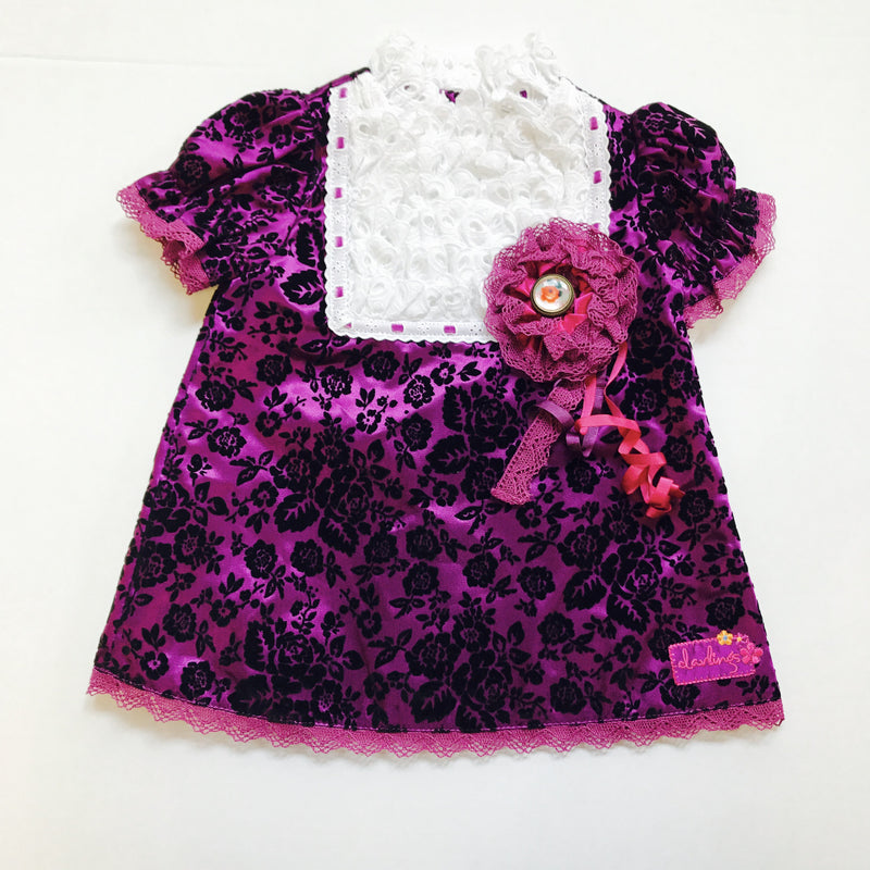 Little Darlings Baby Girls Purple Flower Dress - Scarlett's Bowtique