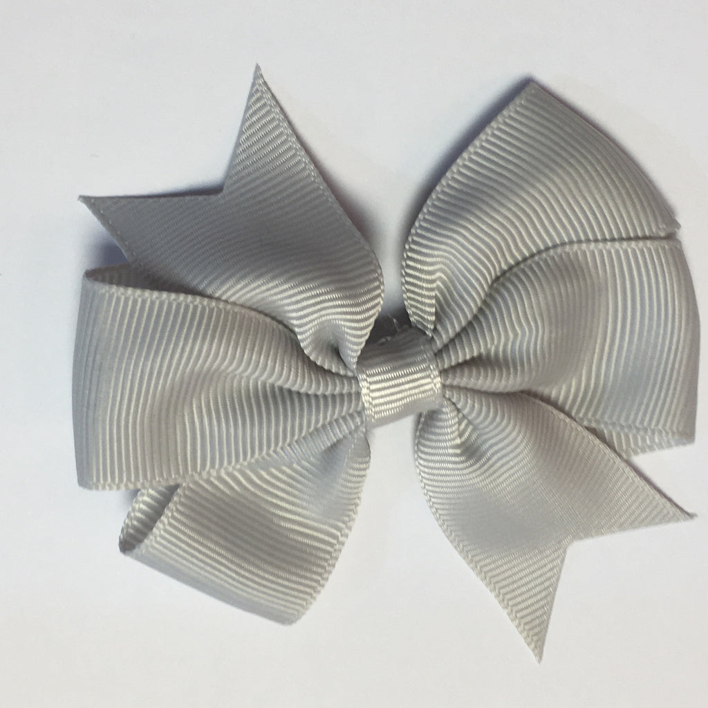 "Scarlett's Bow Light Grey Grosgrain 3"" Bow - Scarlett's Bowtique"