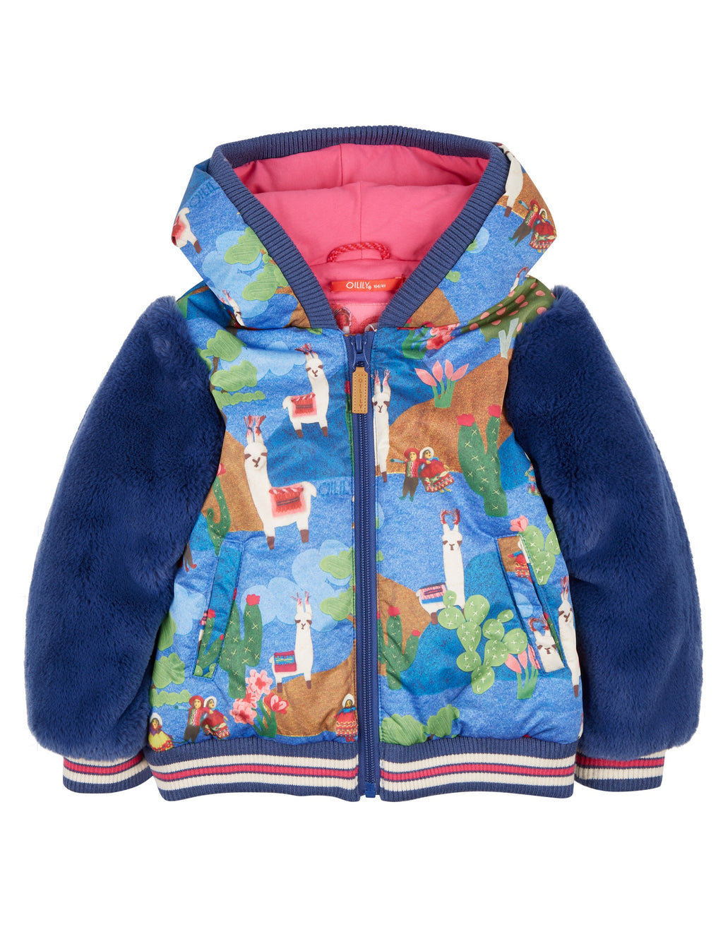 Oilily Winter Chabala Jack Lama Blue Furry Jacket - Scarlett's Bowtique