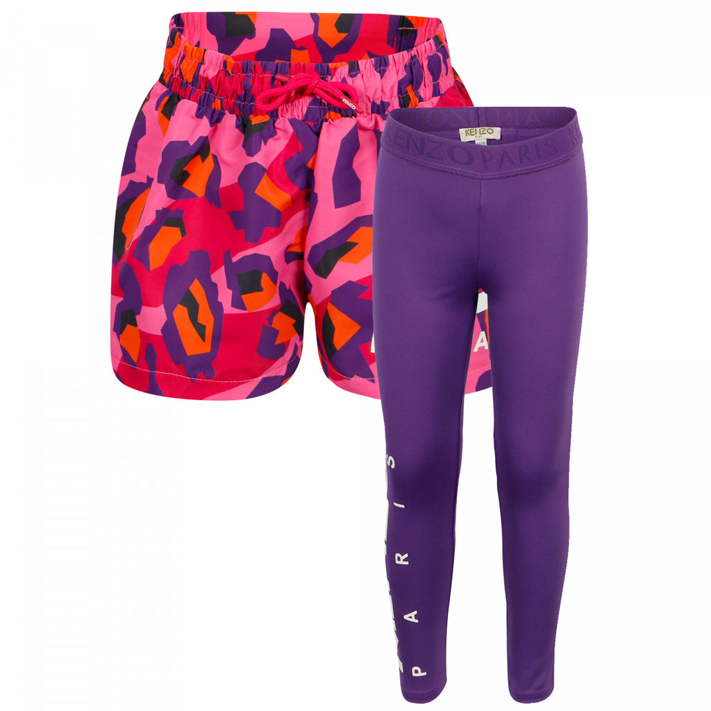 Fuchsia Aktion Sport Shorts & Leggings Set