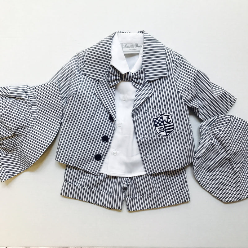 Little Darlings Baby Boys Summer Navy Pinstriped 6 Piece Outfit - Scarlett's Bowtique