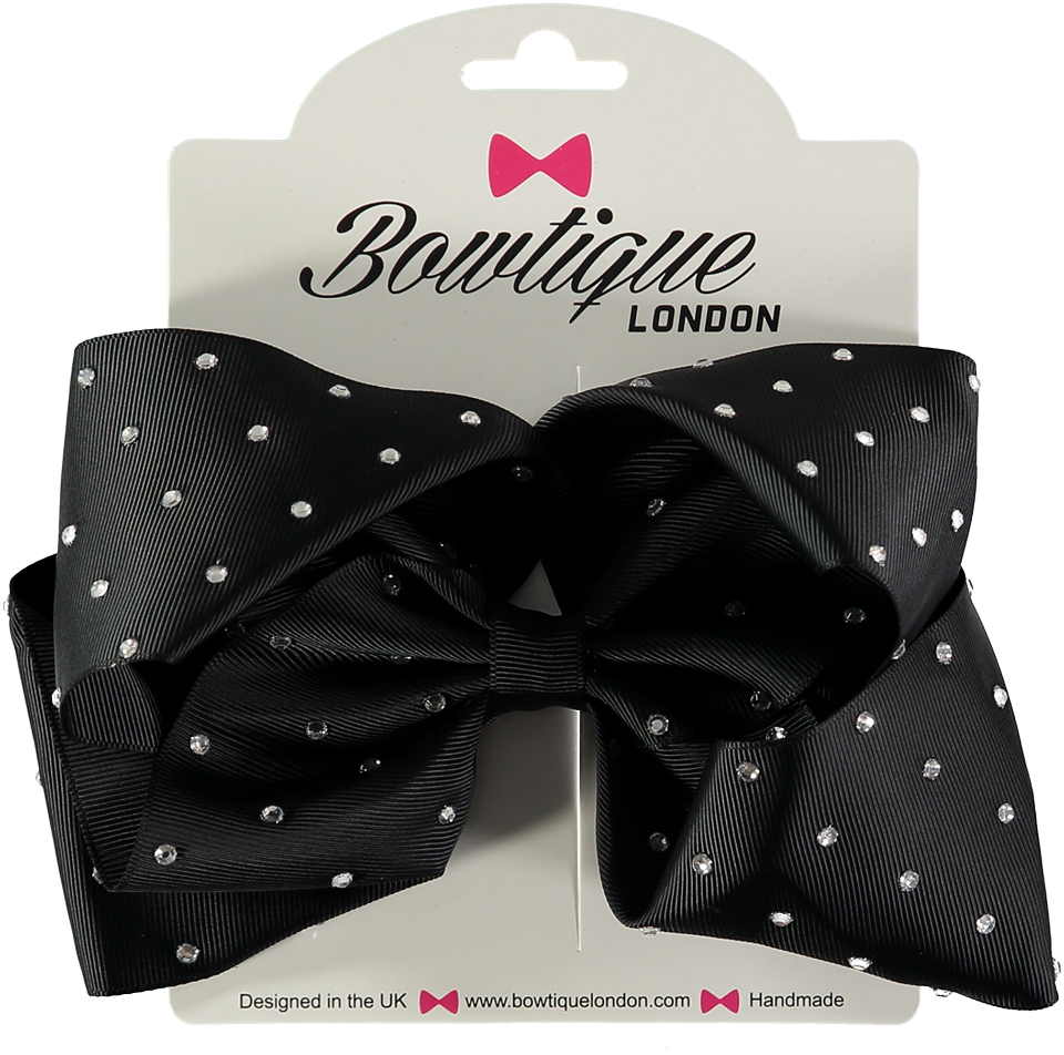 "London Bowtique Black 4"" Crystal Bow - Scarlett's Bowtique"