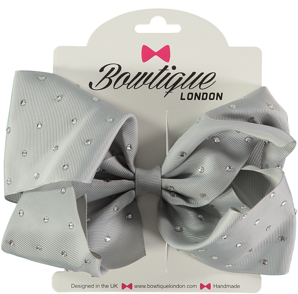 "London Bowtique Silver 8"" Crystal Bow - Scarlett's Bowtique"