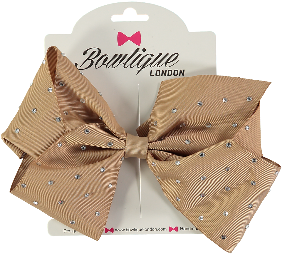 "London Bowtique Latte 8"" Crystal Bow - Scarlett's Bowtique"