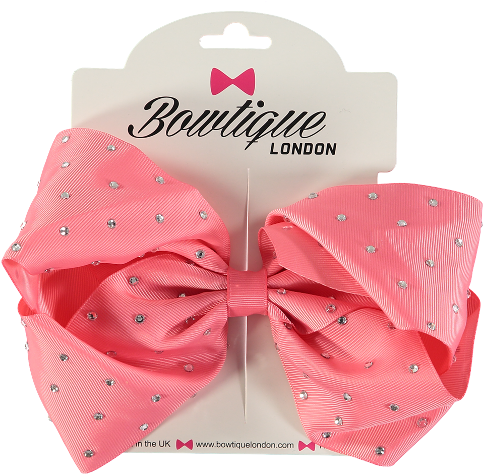 "London Bowtique Coral Rose 8"" Crystal Bow - Scarlett's Bowtique"