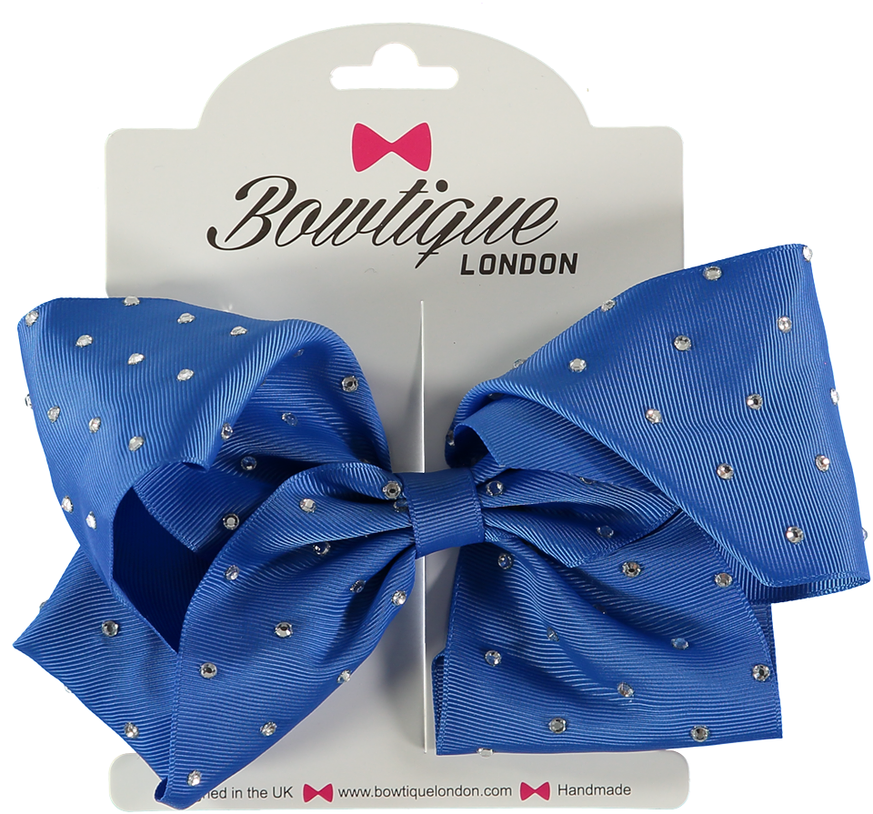 "London Bowtique Royal Blue 8"" Crystal Bow - Scarlett's Bowtique"
