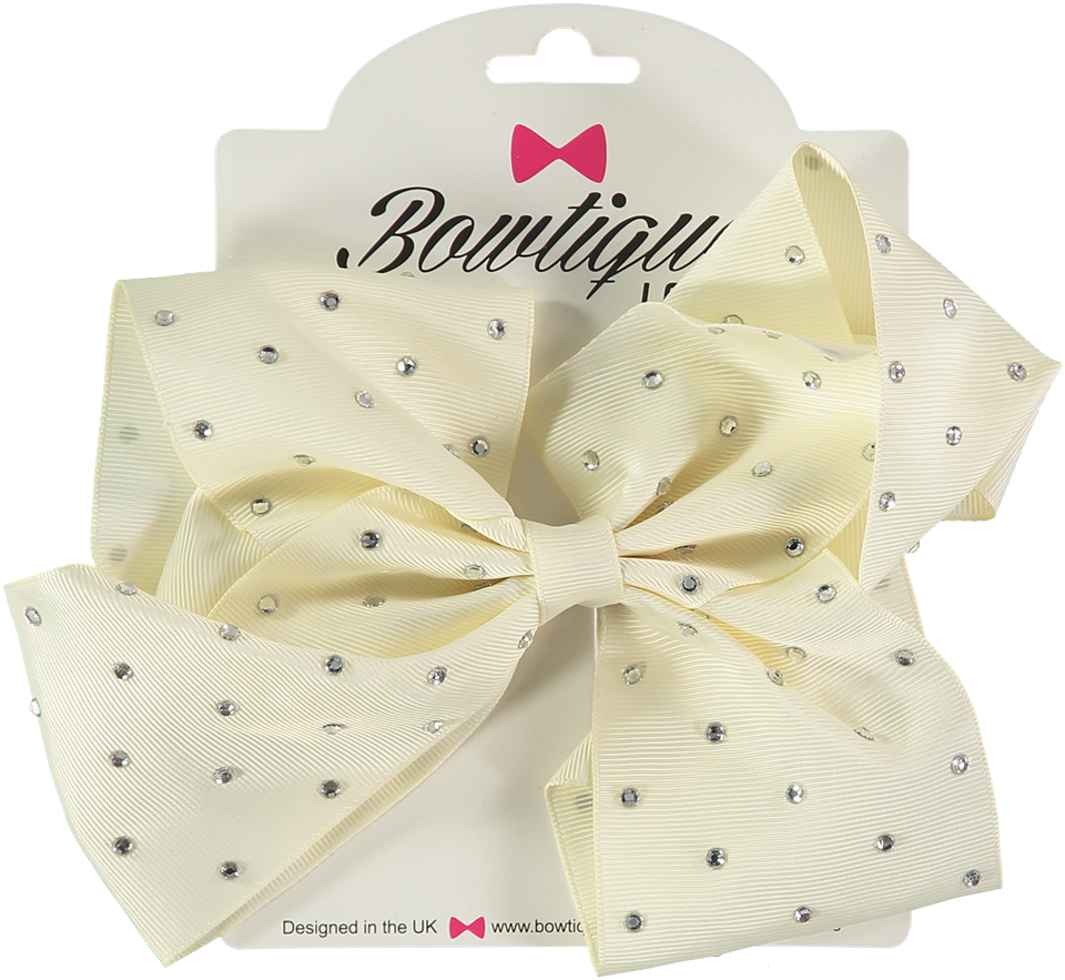 "London Bowtique Antique White 8"" Crystal Bow - Scarlett's Bowtique"
