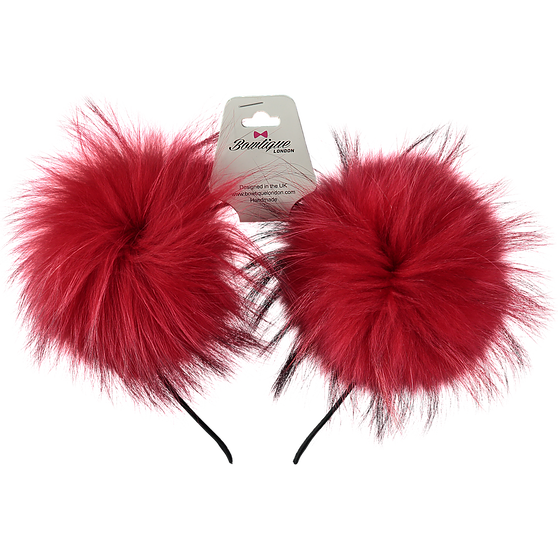 London Bowtique Red Double Pom Pom Alice Band - Scarlett's Bowtique