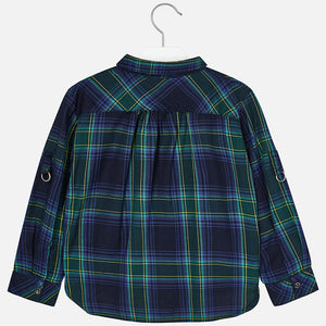 Mayoral Girls Navy Tartan Shirt - Scarlett's Bowtique