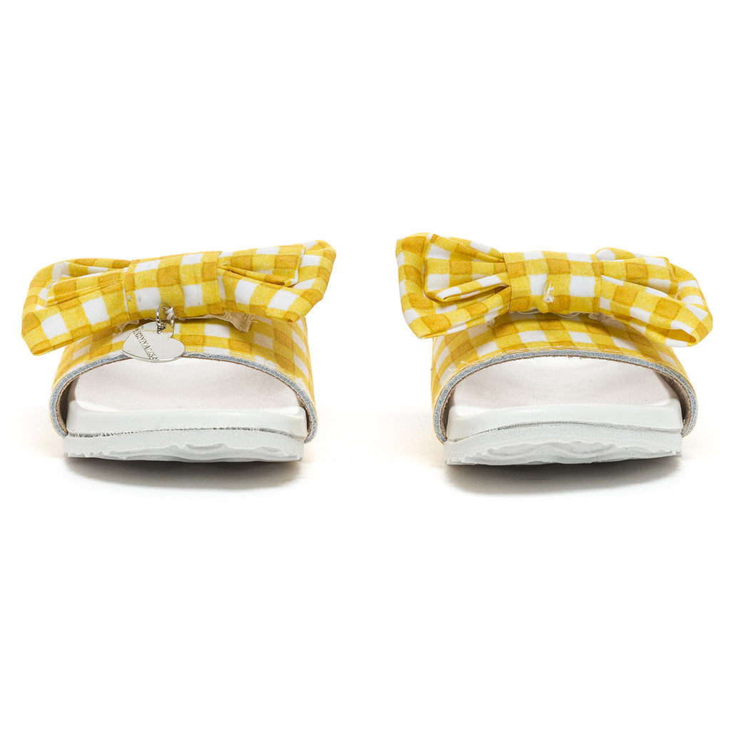 Monnalisa Bimba Yellow Gingham Sliders - Scarlett's Bowtique